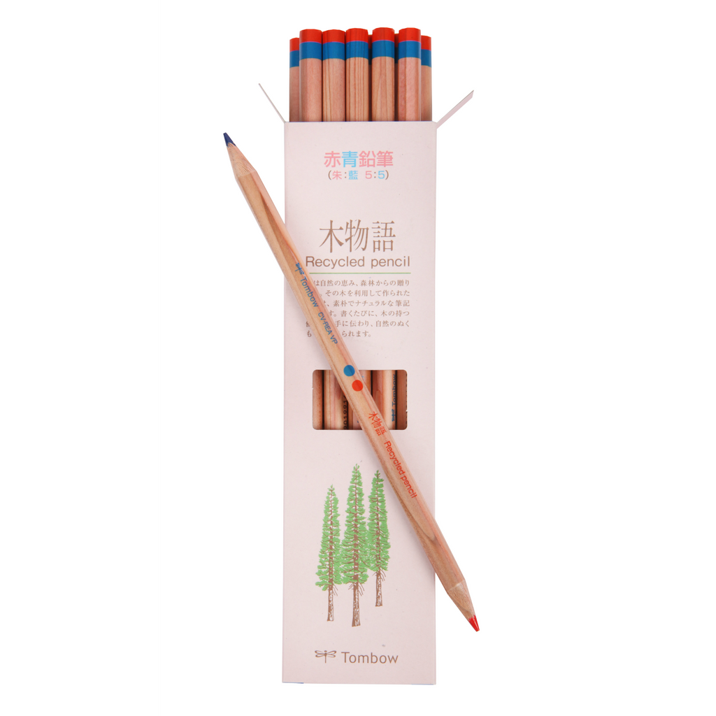 12 Piece Red and Blue Recycled Pencil Set