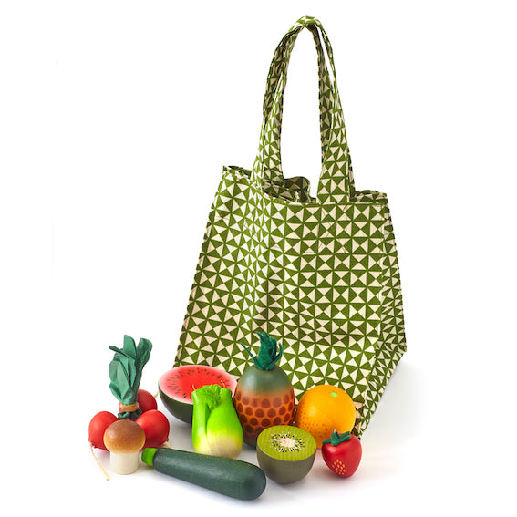 Wooden Produce and Grocery Bag Set