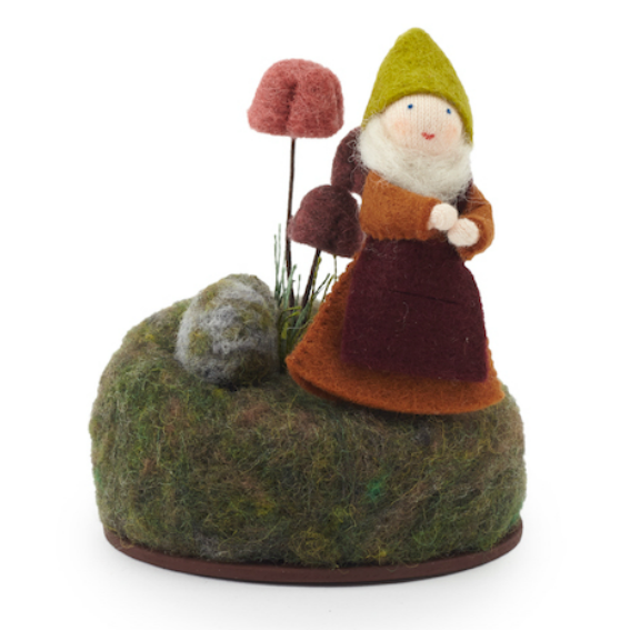 Felt Toadstool with Gnome