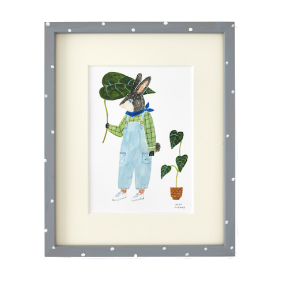 Aiko Fukawa Framed Rabbit with Leaf Print