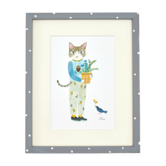 Aiko Fukawa Framed Cat with Plant Print