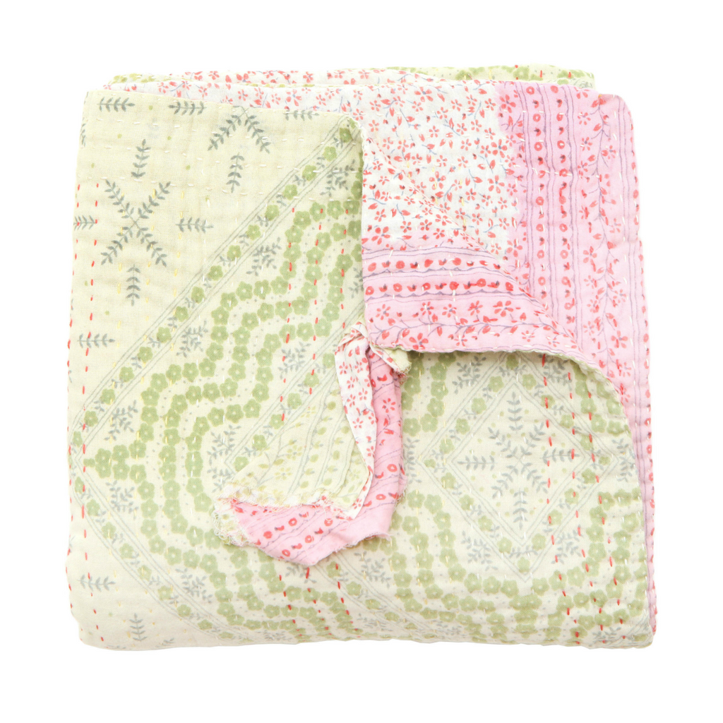 Jeanette Farrier Avocado Green and Pink Floral Kantha Blanket