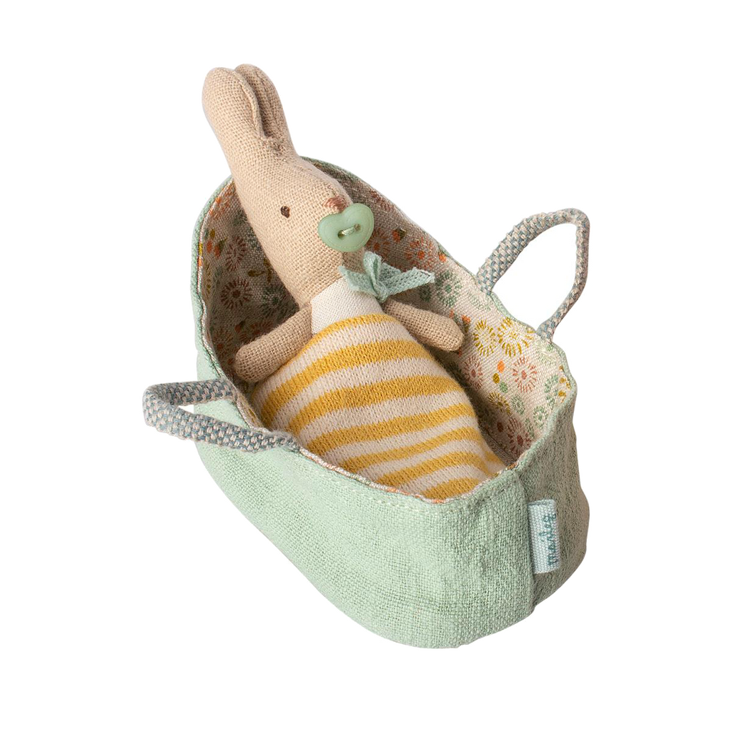 Maileg Tiny Teeny Bunny in Mint Carrying Cot