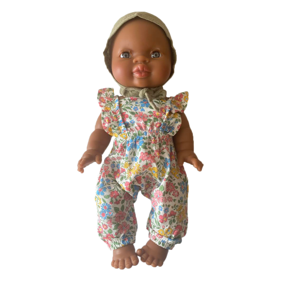 Bath Baby Doll in Floral Romper and Sage Bonnet · Black