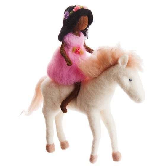 The Girl and Horse Felted Mobile · Brown