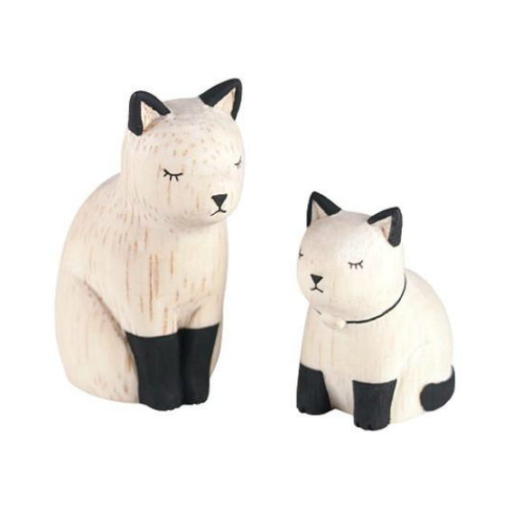 Japanese Wooden Cat Set