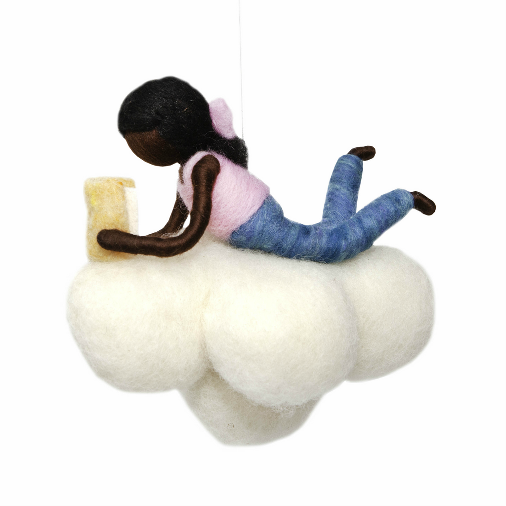 Girl Reading on a Cloud Mobile · Black