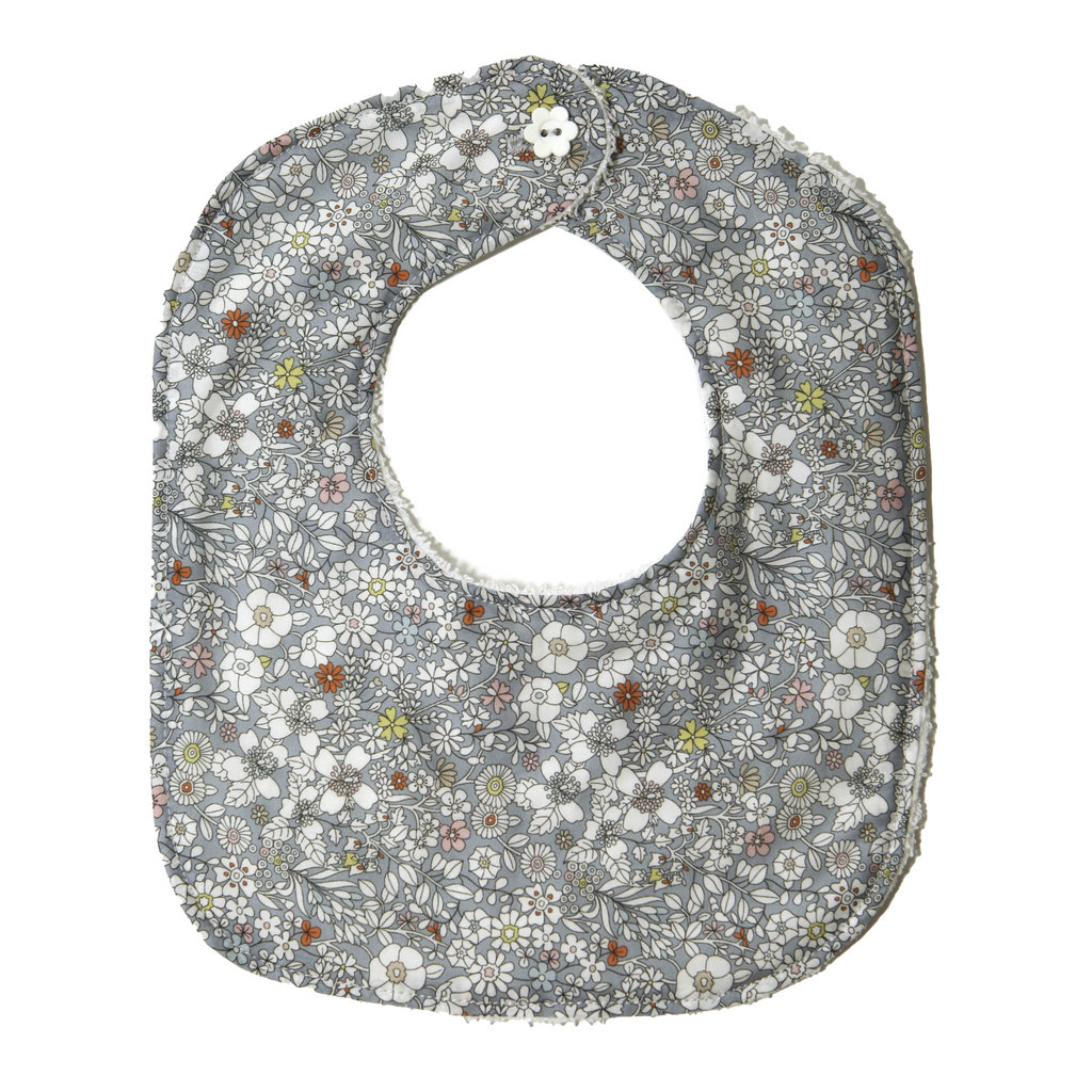 Acorn Liberty Print Small Bib  ·  Blue Meadow