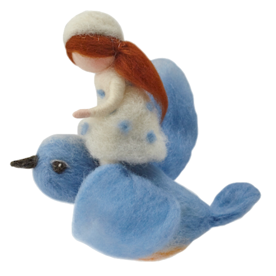 Felted Girl on Bluebird Mobile