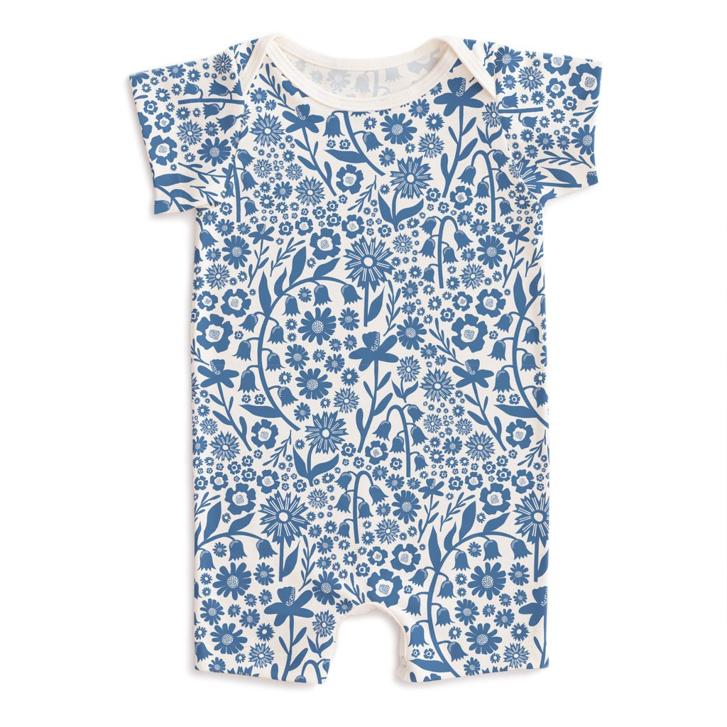 Winter Water Factory Blue Floral Onesie