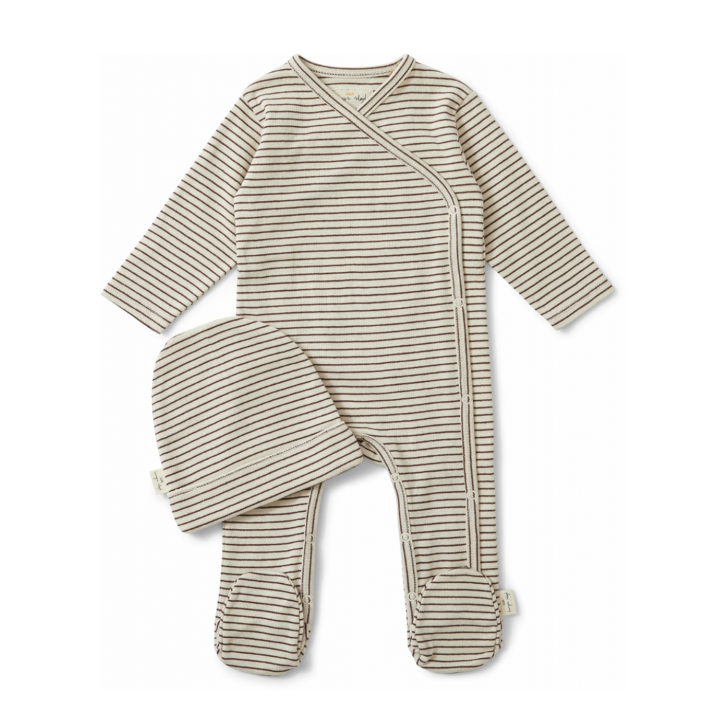 Konges Sløjd Mocca and Beige Striped Newborn Set