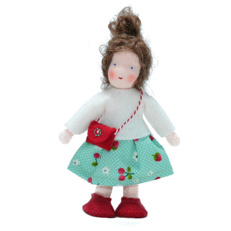 Waldorf Dollhouse Girl in White Top and Cherry Print Skirt  · Brunette