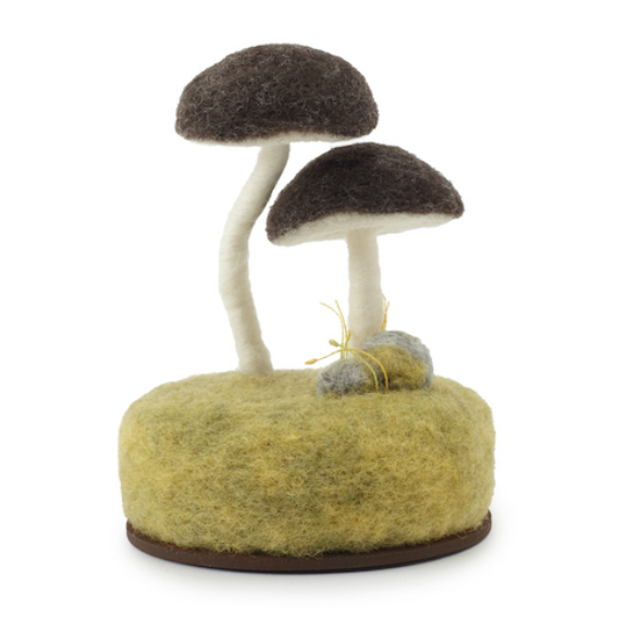 Brown Mushroom Felt Sculpture