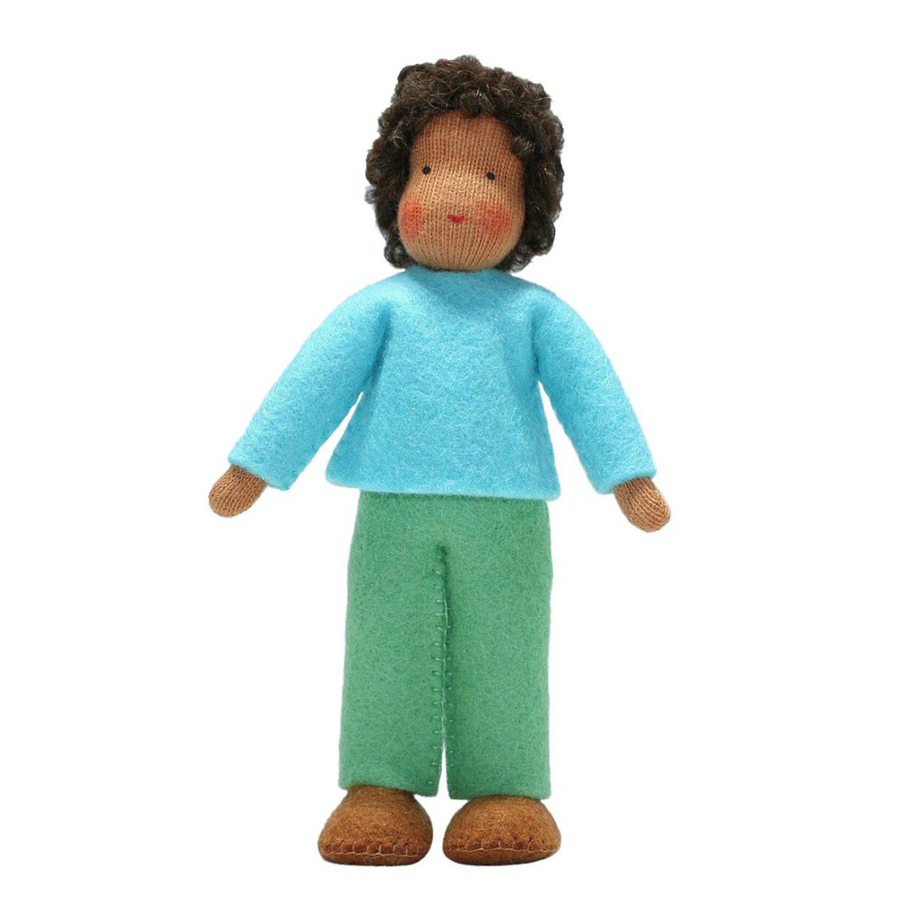 Waldorf Dollhouse Boy in Turquoise Top and Green Pants · Brown