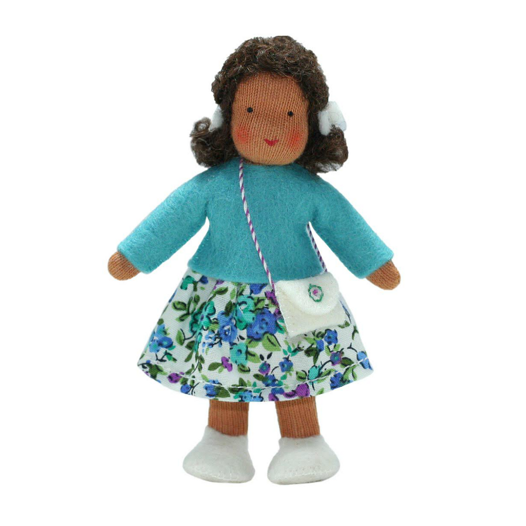 Waldorf Dollhouse Girl in Blue Top and Floral Skirt· Brown
