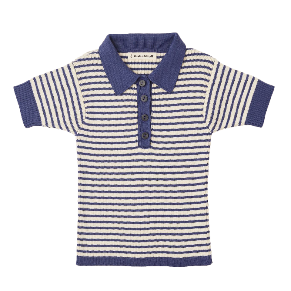 Misha and Puff Blue Violet Mini Stripe Polo