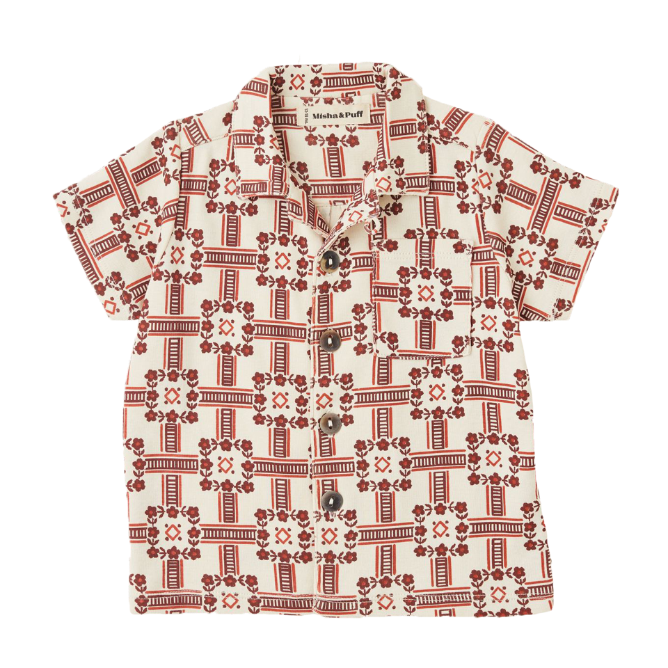 Misha and Puff Railroad Floral Camp Shirt