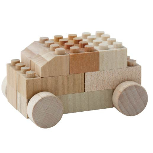 14 Piece Wooden Car Lego Set