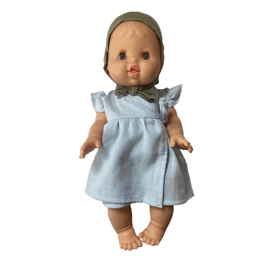 Bath Baby Doll in Chambray Dress and Sage Bonnet · White
