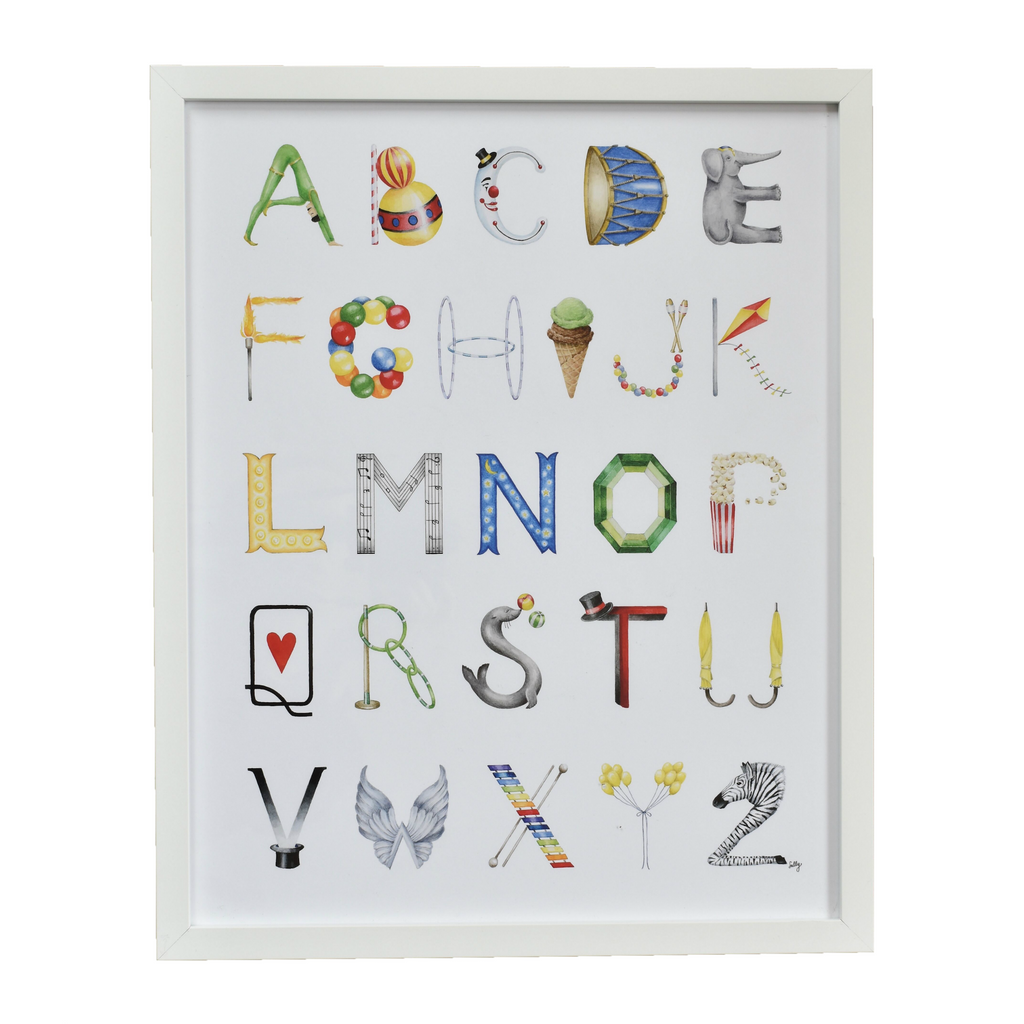 The Letter Nest by Sally McBride · Framed Circus Alphabet Print