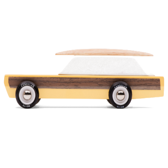 Candylab Woodie Station Wagon with Surfboard