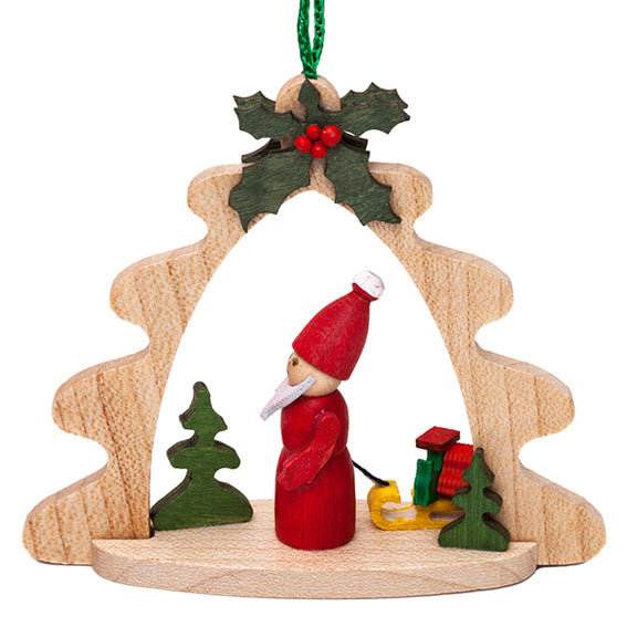Wooden Santa and Sled Ornament