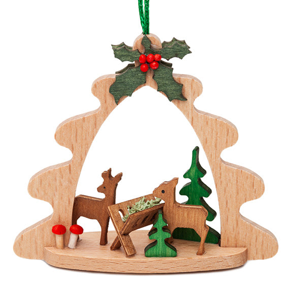 Wooden Deer Manger Ornament