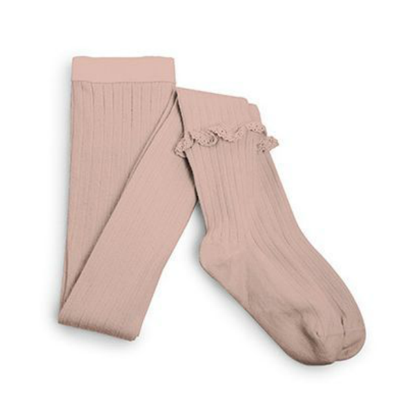 Collégien Rose Ribbed Tights with Ruffle