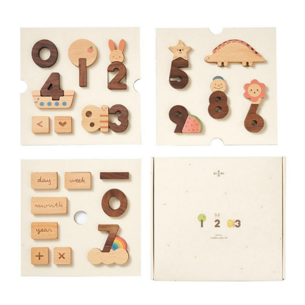 Oioiooi Wooden Numbers Block Set