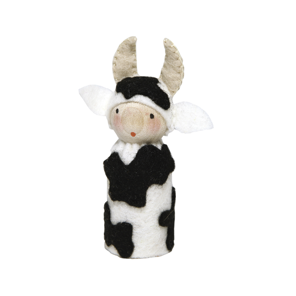 Peg Doll in Cow Costume