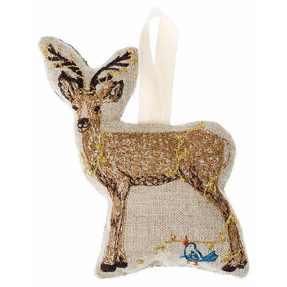 Coral and Tusk Deer with Lights Ornament