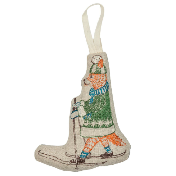 Coral and Tusk Skiing Fox Ornament