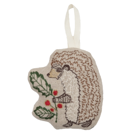 Coral and Tusk Holly Hedgehog Ornament