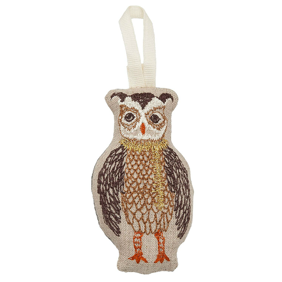 Coral and Tusk Owl Tree Trimmer Ornament