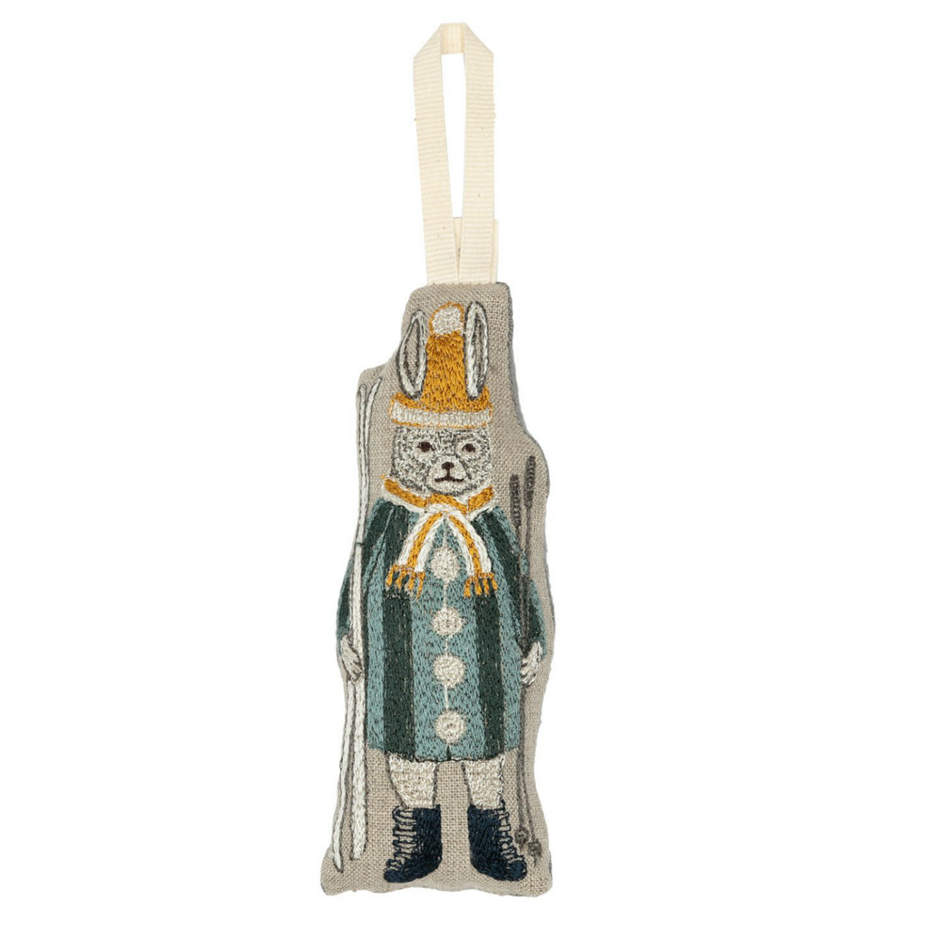 Coral and Tusk Slopes Bunny Ornament