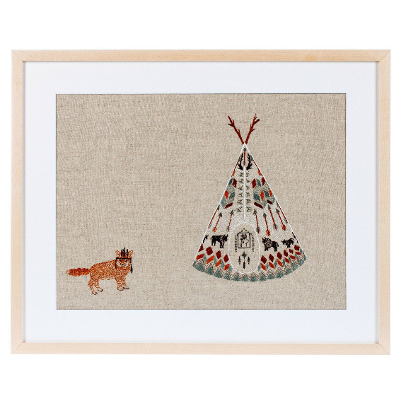 Coral and Tusk Fox Tipi Artwork