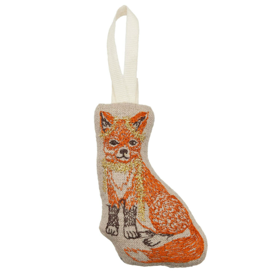 Coral and Tusk Fox Tree Trimmer Ornament