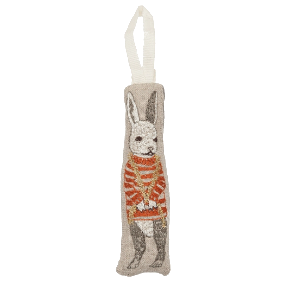 Coral and Tusk Tree Trimmer Bunny Ornament