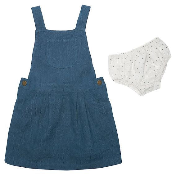 Dotty Dungarees Ocean Linen Baby Dress  - 18-24 months