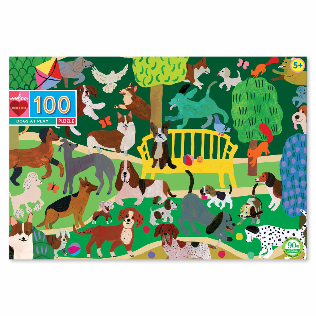 Eeboo Dogs at Play 100 Piece Puzzle