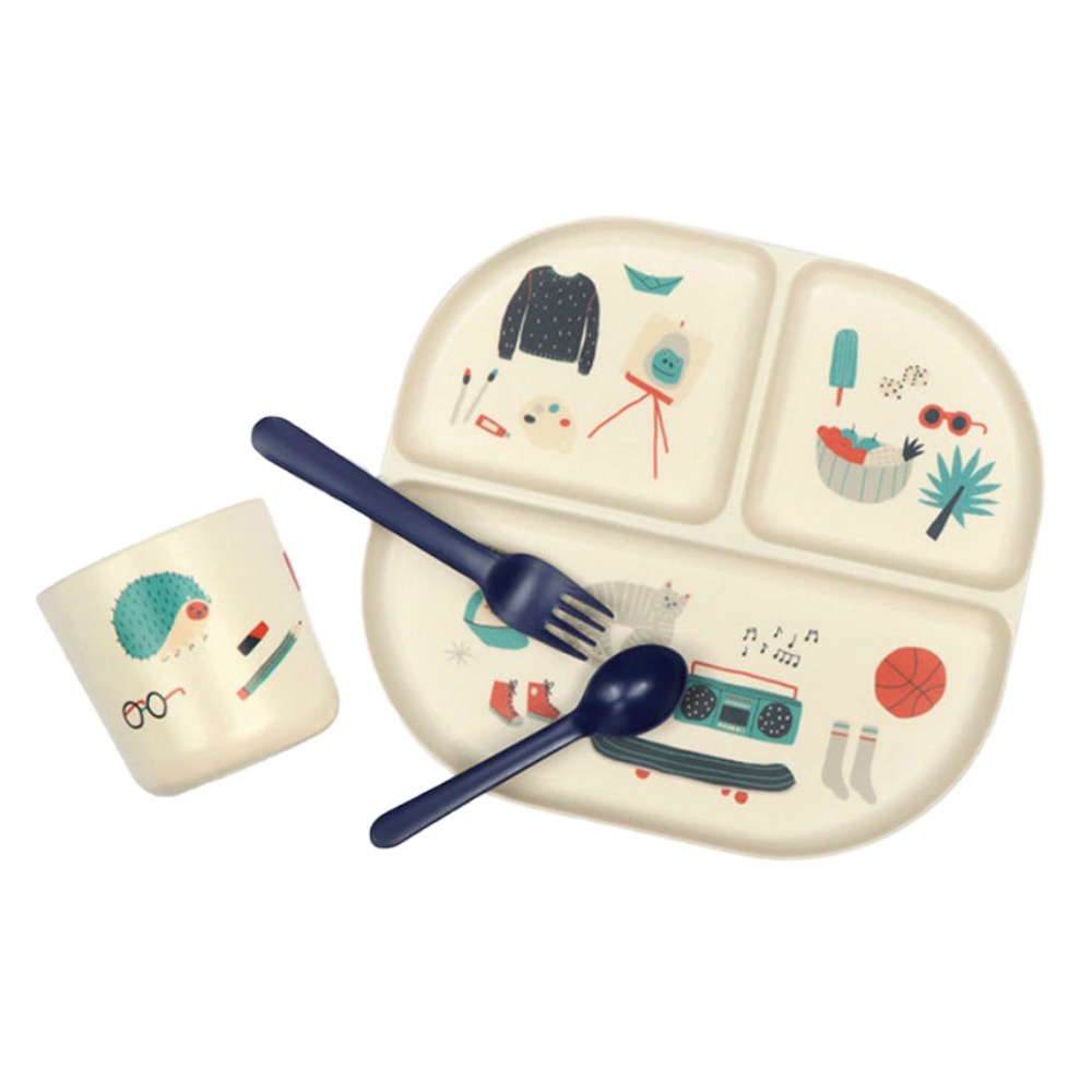 Royal Blue Illustrated Bamboo Kids Dinnerware Set
