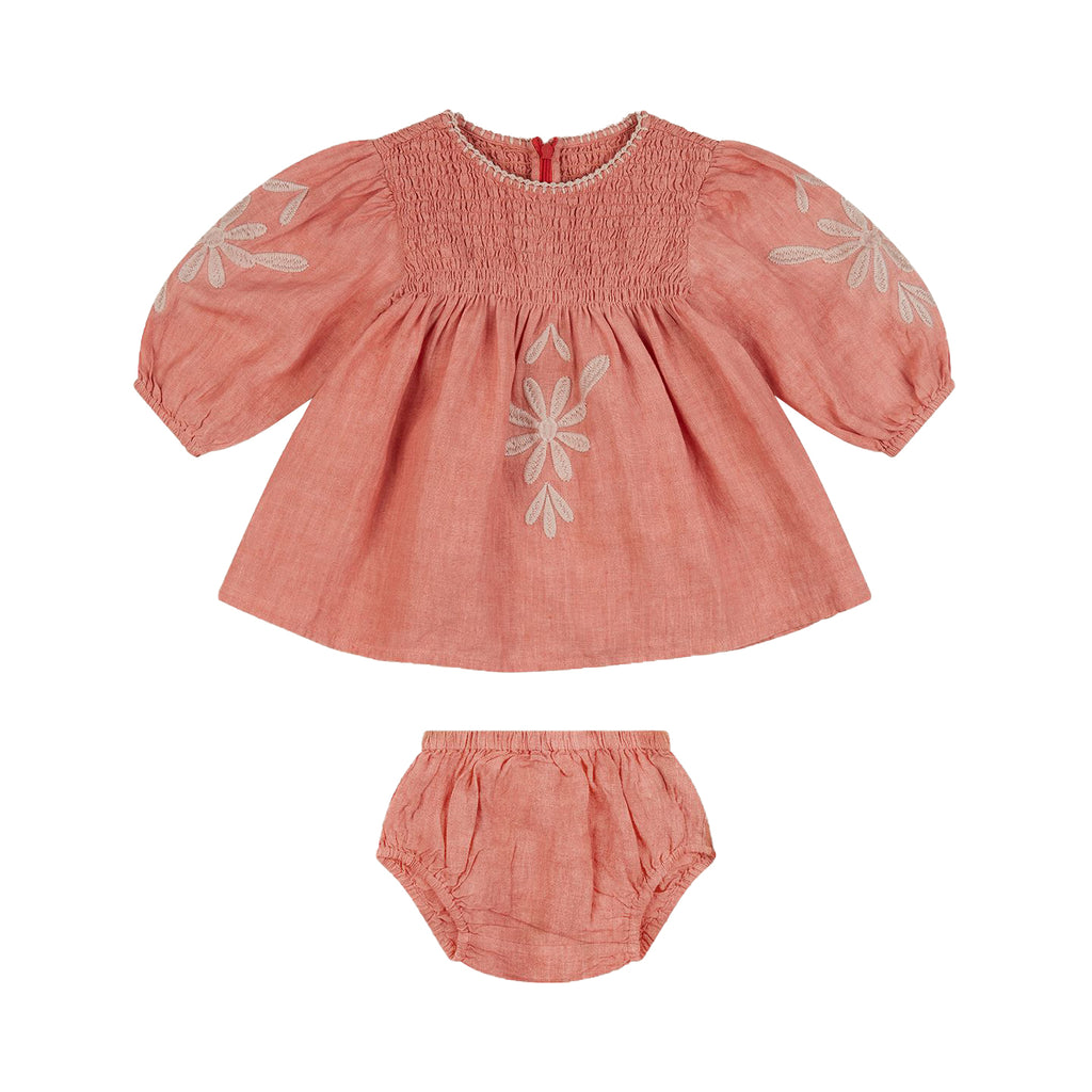 Apolina Faded Coral Noelle Dress and Bloomer Set