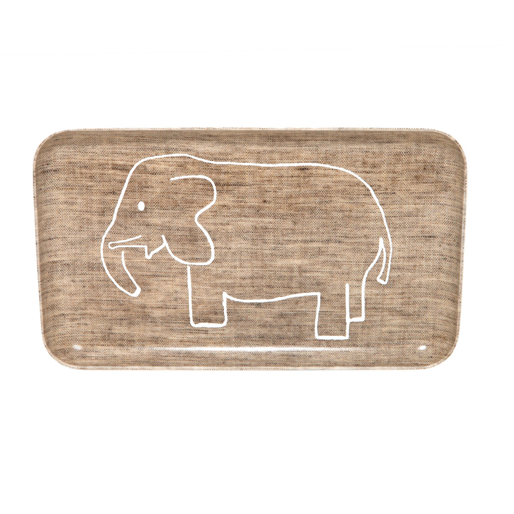 Fog Linen Brown Elephant Tray