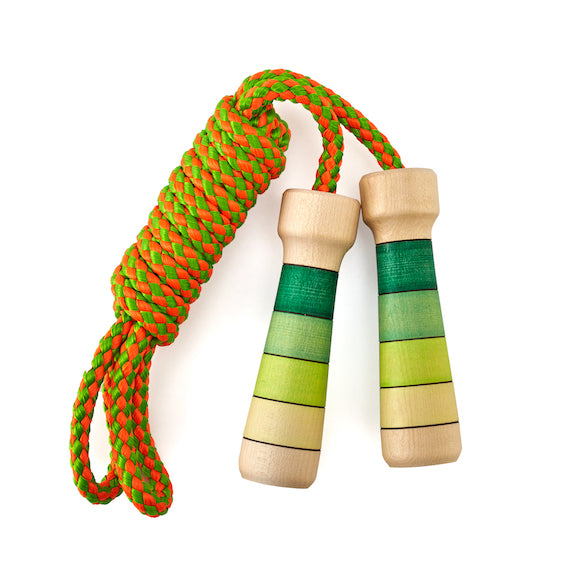 Green Striped Wooden Jump Rope