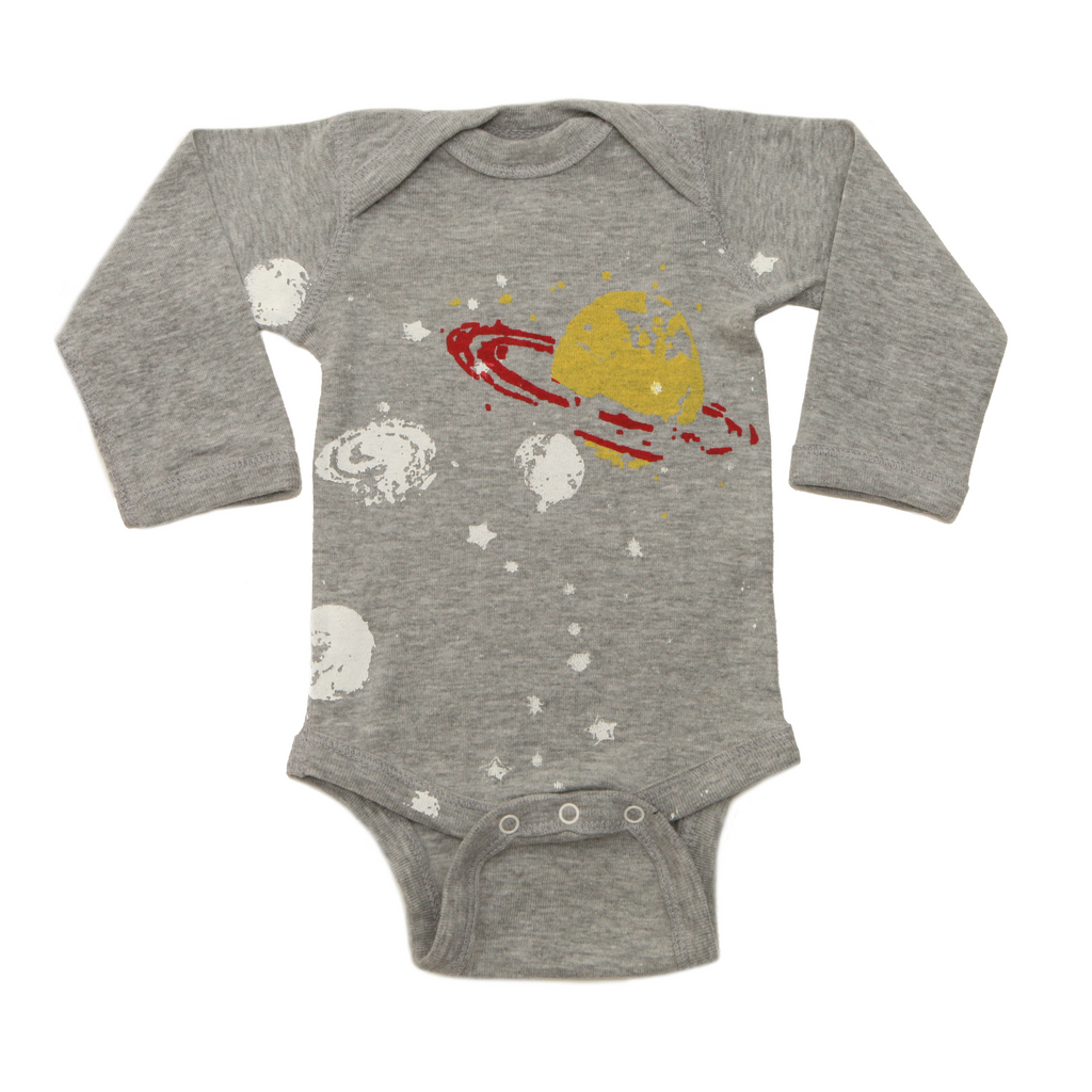 Lucky Fish Grey Saturn Long Sleeve Onesie