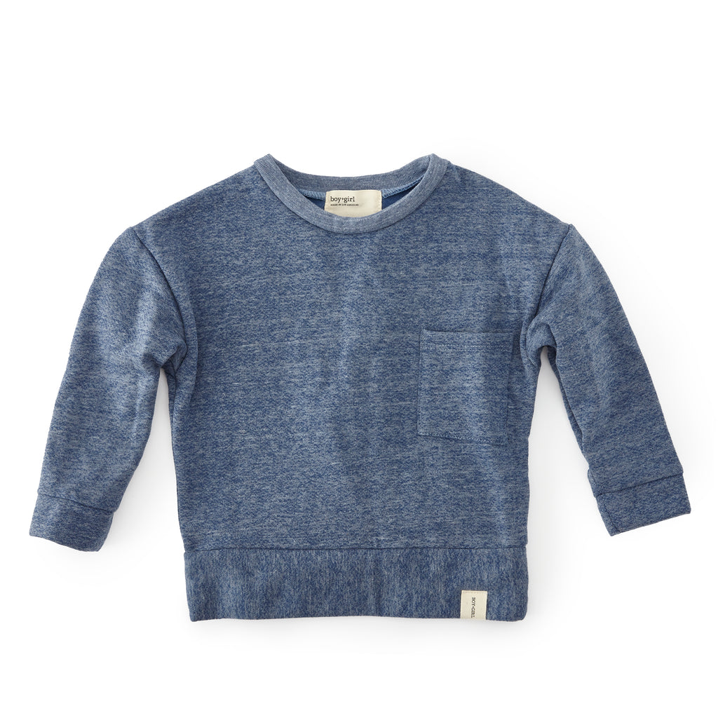 Boy + Girl Heather Blue Crew Pullover