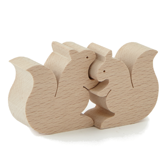 Wooden Hugging Squirrels Puzzle