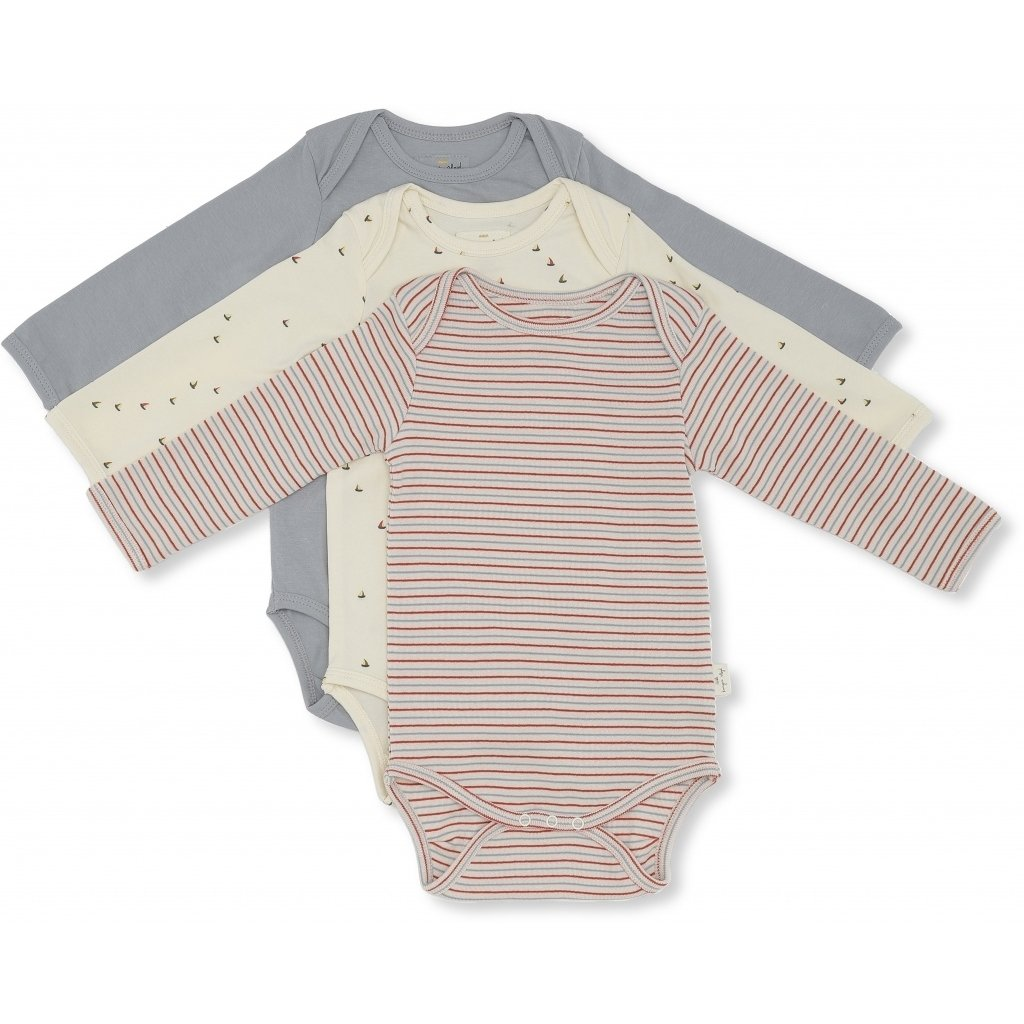 Konges Sløjd 3 Piece Stripes and Ships Onesie Set