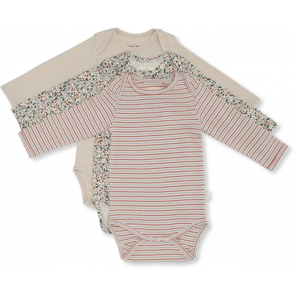 Konges Sløjd 3 Piece Flowers and Stripes Onesie Set