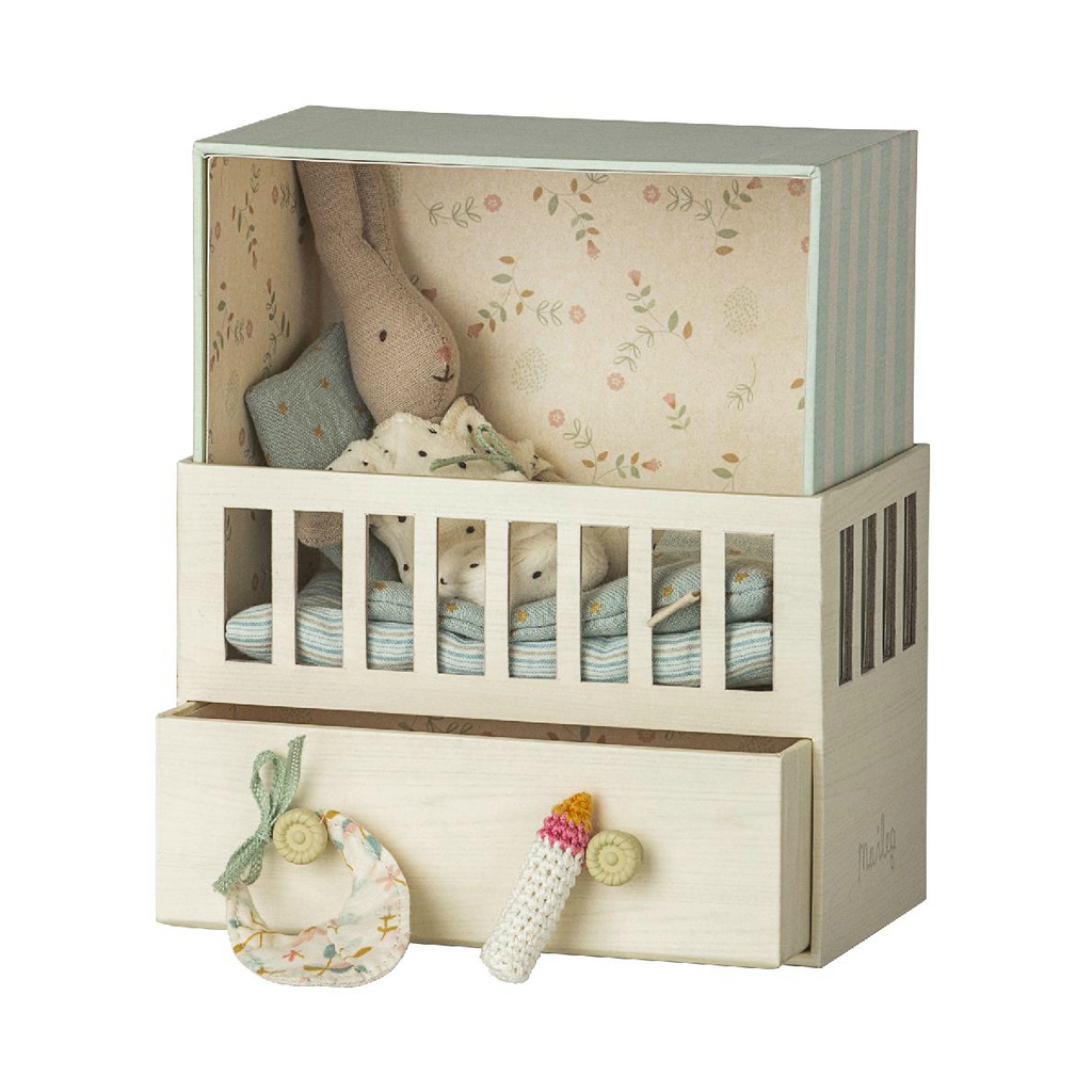 Maileg Blue Baby Room with Micro Bunny